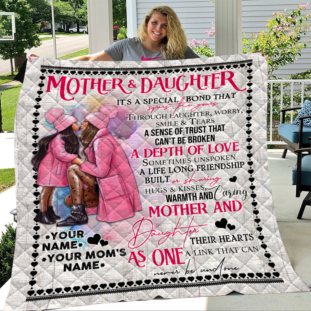 Personalized Lovely Quilt Throw Blanket To My Mom From Daughter A Depth Of Love Pattern 1 Lightweight Super Soft Cozy For Decorative Couch Sofa Bed