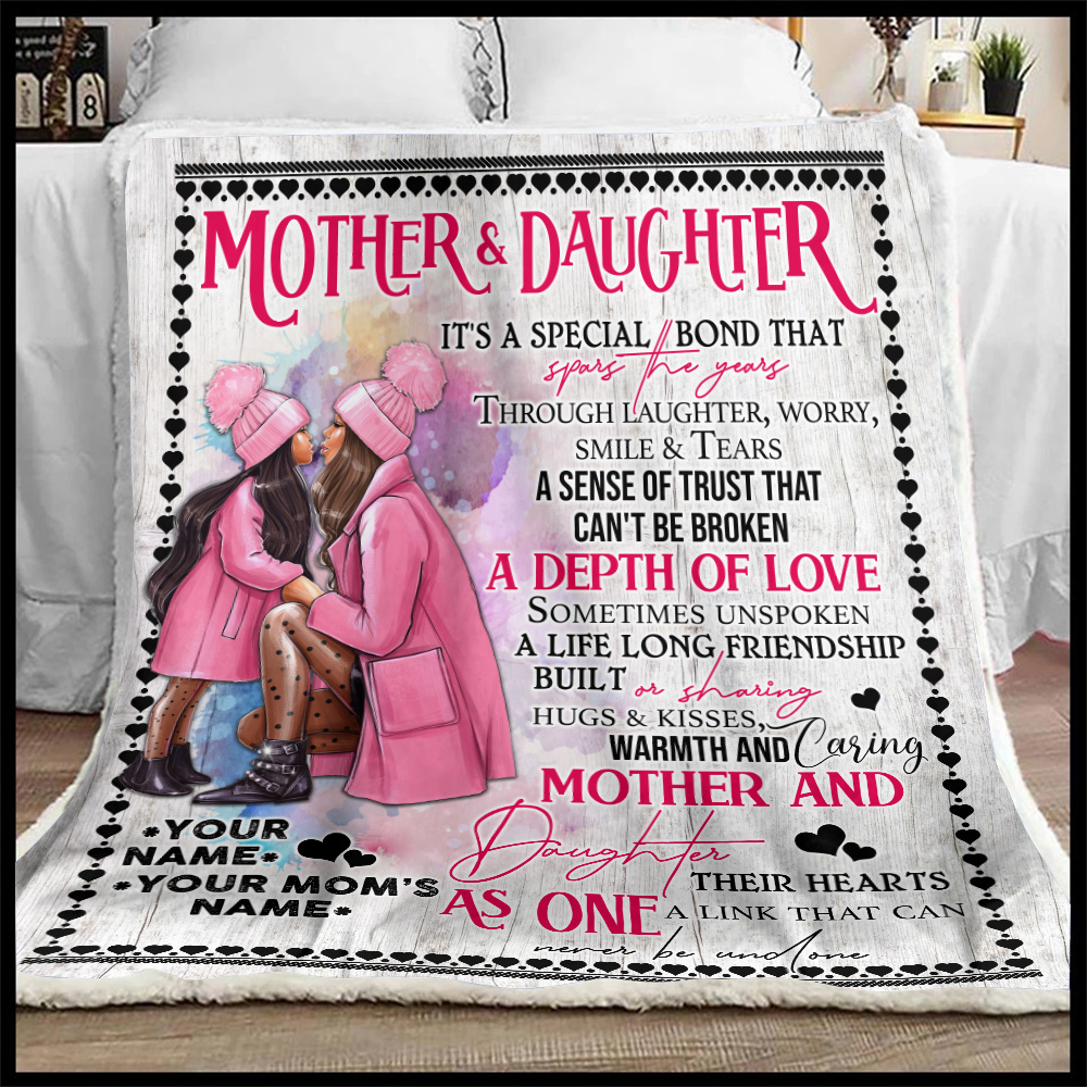 Personalized Lovely Fleece Throw Blanket To My Mom From Daughter A Depth Of Love Pattern 1 Lightweight Super Soft Cozy For Decorative Couch Sofa Bed