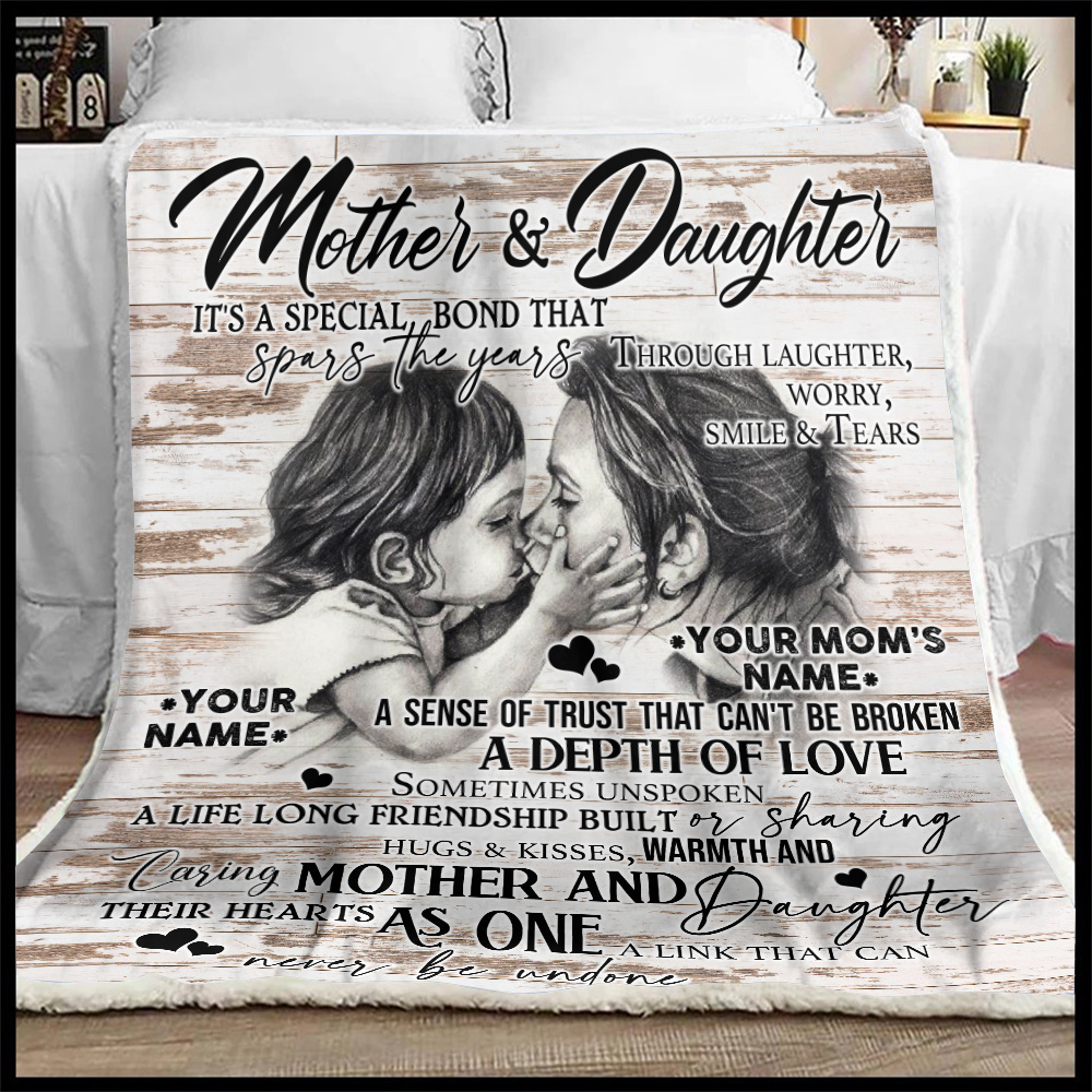 Personalized Lovely Fleece Throw Blanket To My Mom From Daughter A Depth Of Love Pattern 2 Lightweight Super Soft Cozy For Decorative Couch Sofa Bed