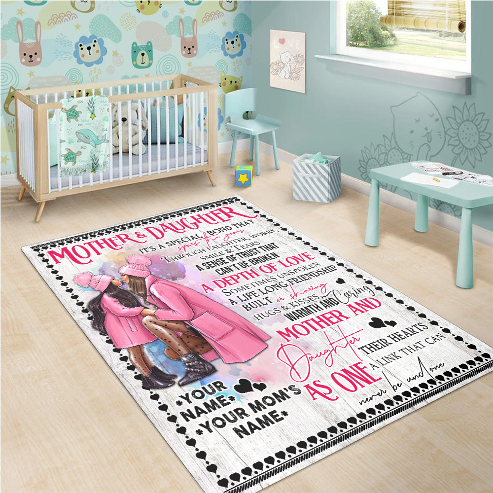 Personalized Lovely To My Mom From Daughter A Depth Of Love Pattern 1 Vintage Area Rug Anti-Skid Floor Carpet For Living Room Dinning Room Bedroom Office