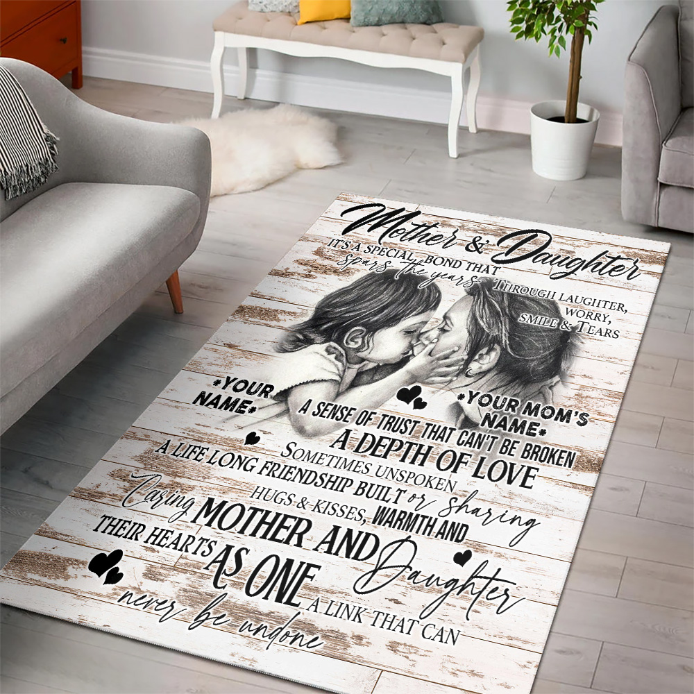 Personalized Lovely To My Mom From Daughter A Depth Of Love Pattern 2 Vintage Area Rug Anti-Skid Floor Carpet For Living Room Dinning Room Bedroom Office