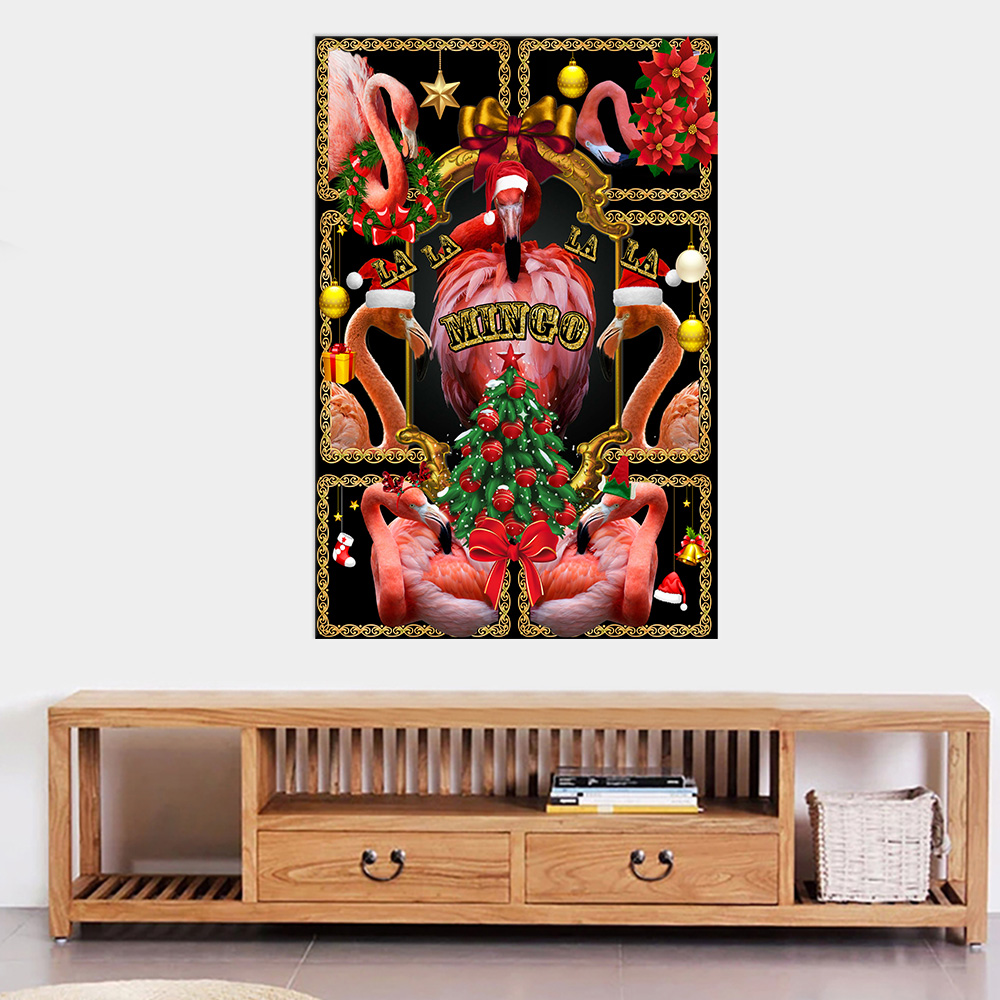 Personalized Wall Art Poster Canvas 1 Panel A Very Pink Christmas Pattern 1 Great Idea For Living Home Decorations Birthday Christmas Aniversary
