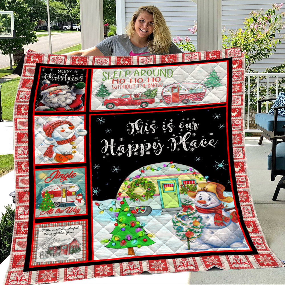 Personalized Quilt Throw Blanket Happy Camper This Is Our Happy Place Pattern 1 Lightweight Super Soft Cozy For Decorative Couch Sofa Bed