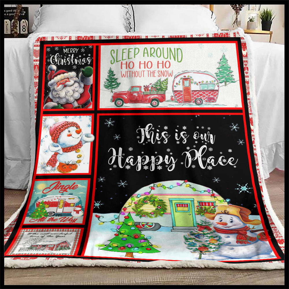 Personalized Fleece Throw Blanket Happy Camper This Is Our Happy Place Pattern 1 Lightweight Super Soft Cozy For Decorative Couch Sofa Bed