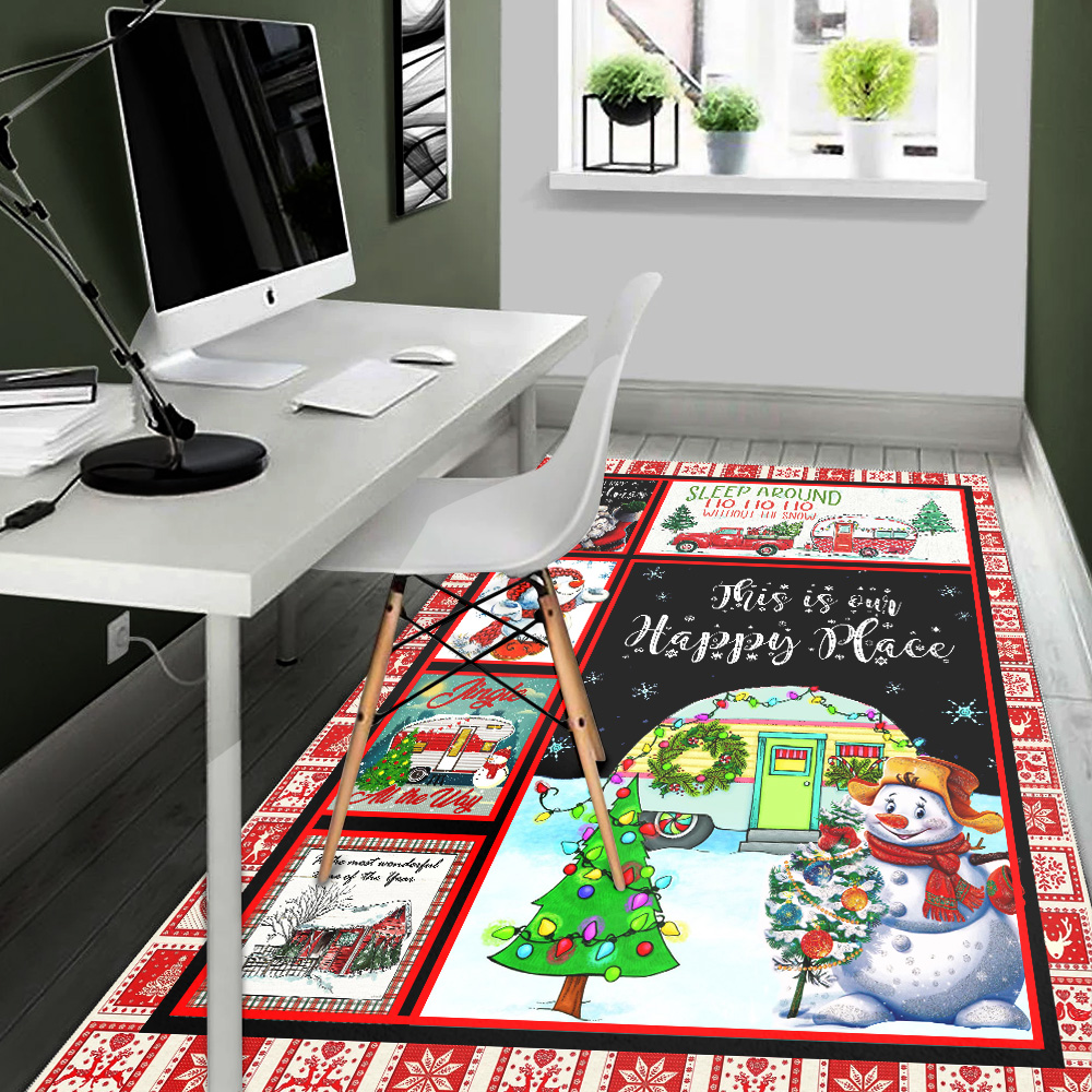 Personalized Floor Area Rugs Happy Camper This Is Our Happy Place Indoor Home Decor Carpets Suitable For Children Living Room Bedroom Birthday Christmas Aniversary