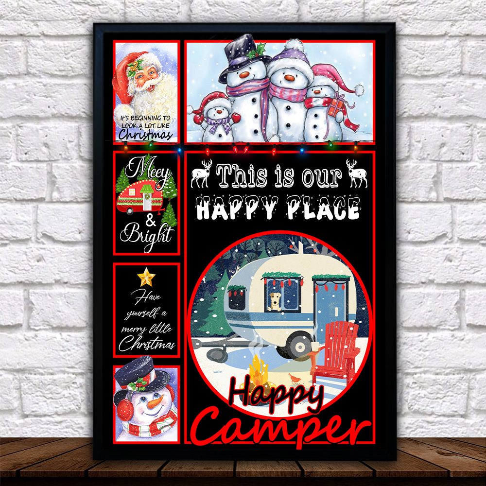 Personalized Wall Art Poster Canvas 1 Panel Happy Camper This Is Our Happy Place Pattern 2 Great Idea For Living Home Decorations Birthday Christmas Aniversary