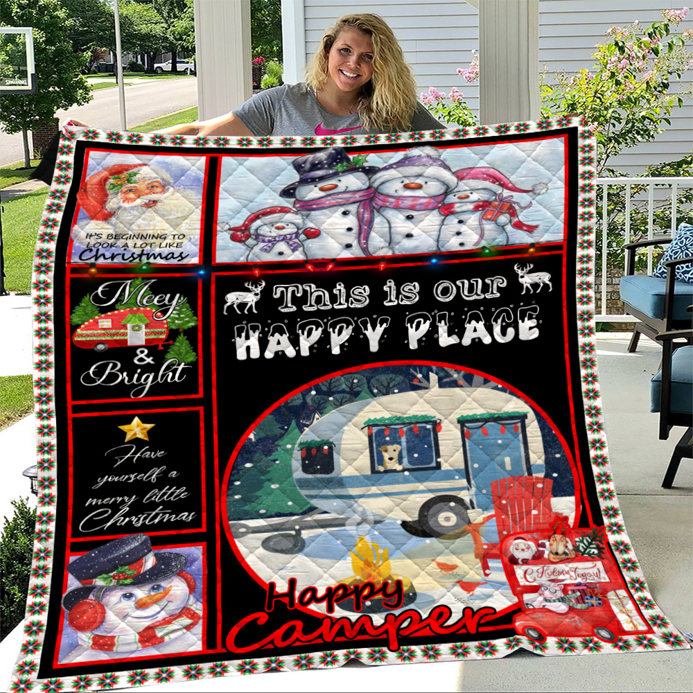 Personalized Quilt Throw Blanket Happy Camper This Is Our Happy Place Pattern 2 Lightweight Super Soft Cozy For Decorative Couch Sofa Bed