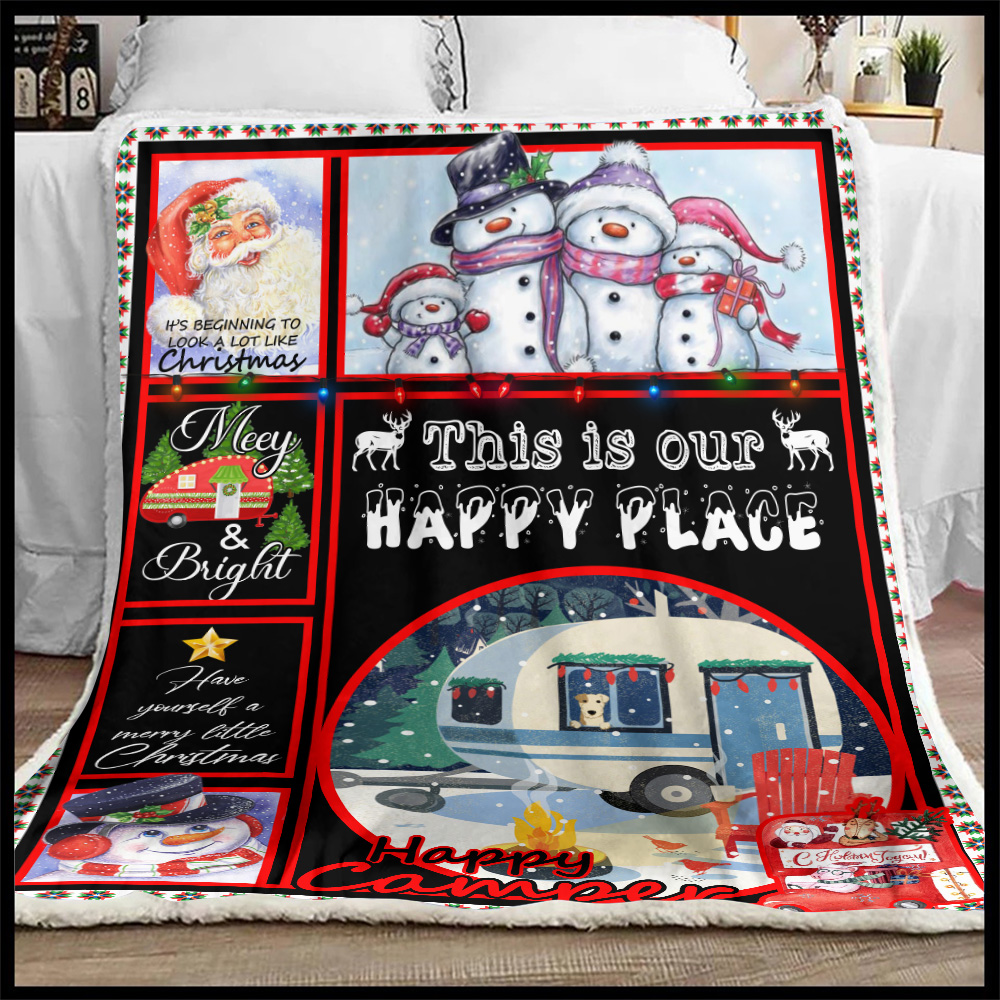Personalized Fleece Throw Blanket Happy Camper This Is Our Happy Place Pattern 2 Lightweight Super Soft Cozy For Decorative Couch Sofa Bed