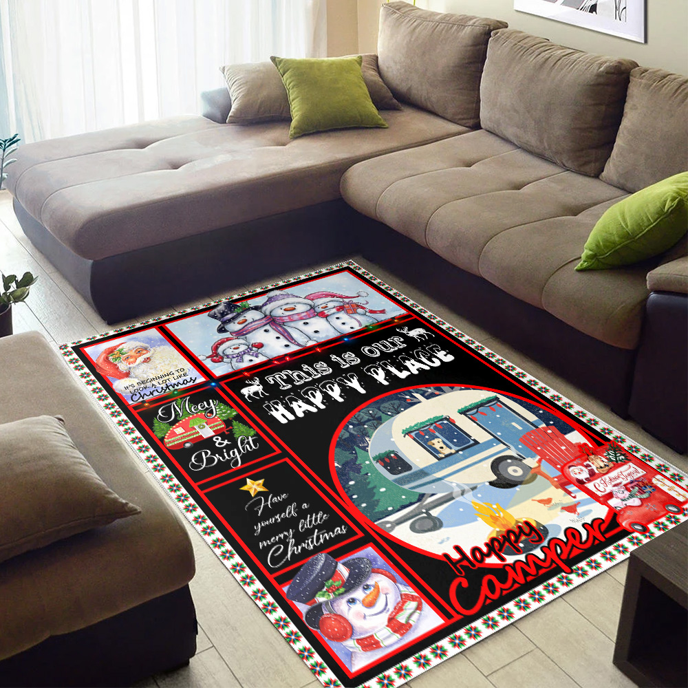 Personalized Floor Area Rugs Happy Camper This Is Our Happy Place Pattern 2 Indoor Home Decor Carpets Suitable For Children Living Room Bedroom Birthday Christmas Aniversary