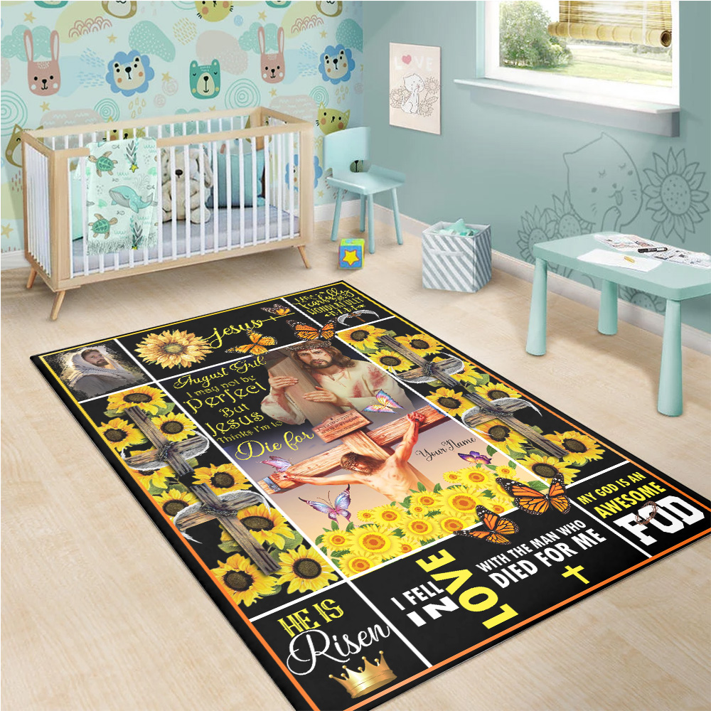 Personalized August Girl I May Not Be Perfect But Jesus Thinks I'm To Die For Pattern 1 Vintage Area Rug Anti-Skid Floor Carpet For Living Room Dinning Room Bedroom Office