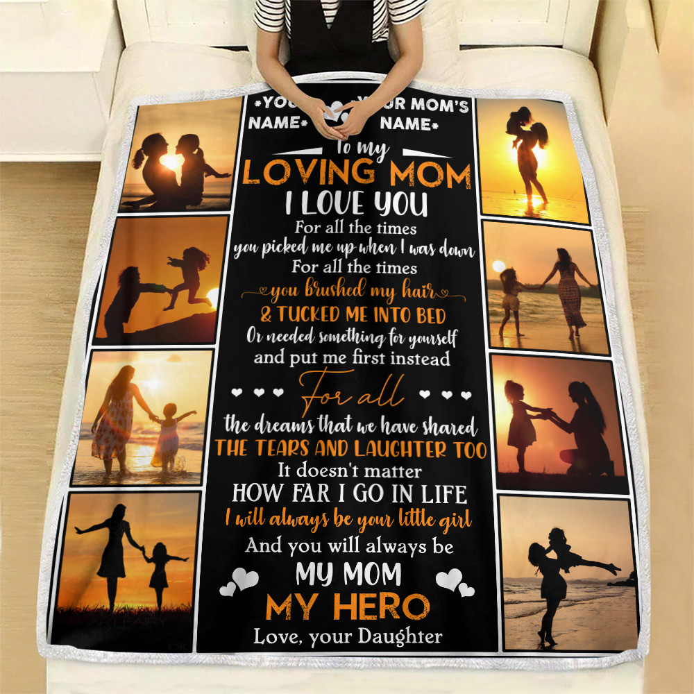 Personalized Lovely Fleece Throw Blanket To My Mom I Will Always Be Your Little Girl Pattern 1 Lightweight Super Soft Cozy For Decorative Couch Sofa Bed