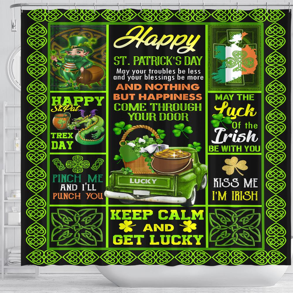 Personalized Lovely Shower Curtain St Patrick's Day Kiss Me I'm Irish Pattern 1 Set 12 Hooks Decorative Bath Modern Bathroom Accessories Machine Washable