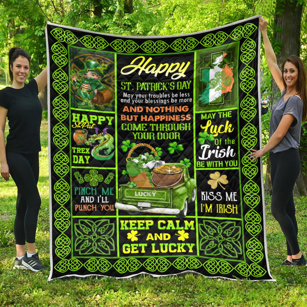Personalized Lovely Quilt Throw Blanket St Patrick's Day Kiss Me I'm Irish Pattern 1 Lightweight Super Soft Cozy For Decorative Couch Sofa Bed