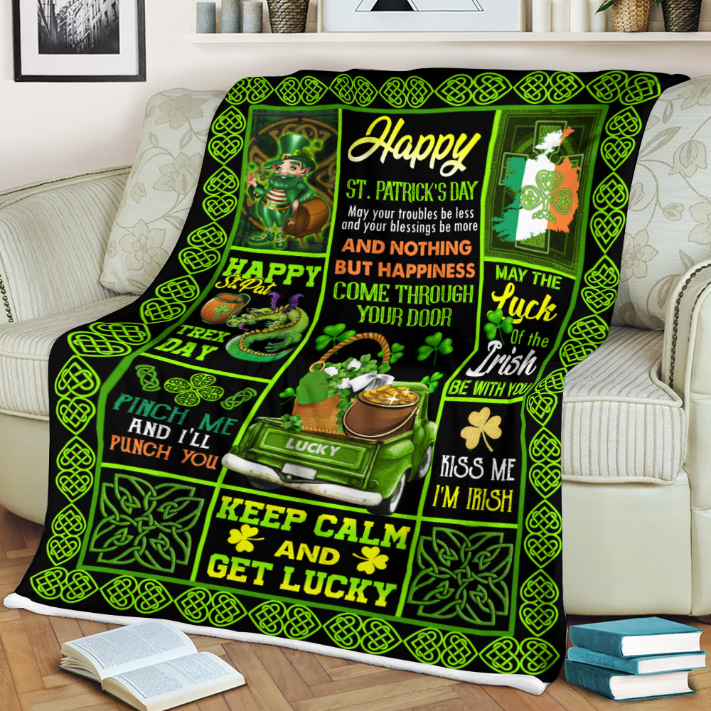 Personalized Lovely Fleece Throw Blanket St Patrick's Day Kiss Me I'm Irish Pattern 1 Lightweight Super Soft Cozy For Decorative Couch Sofa Bed