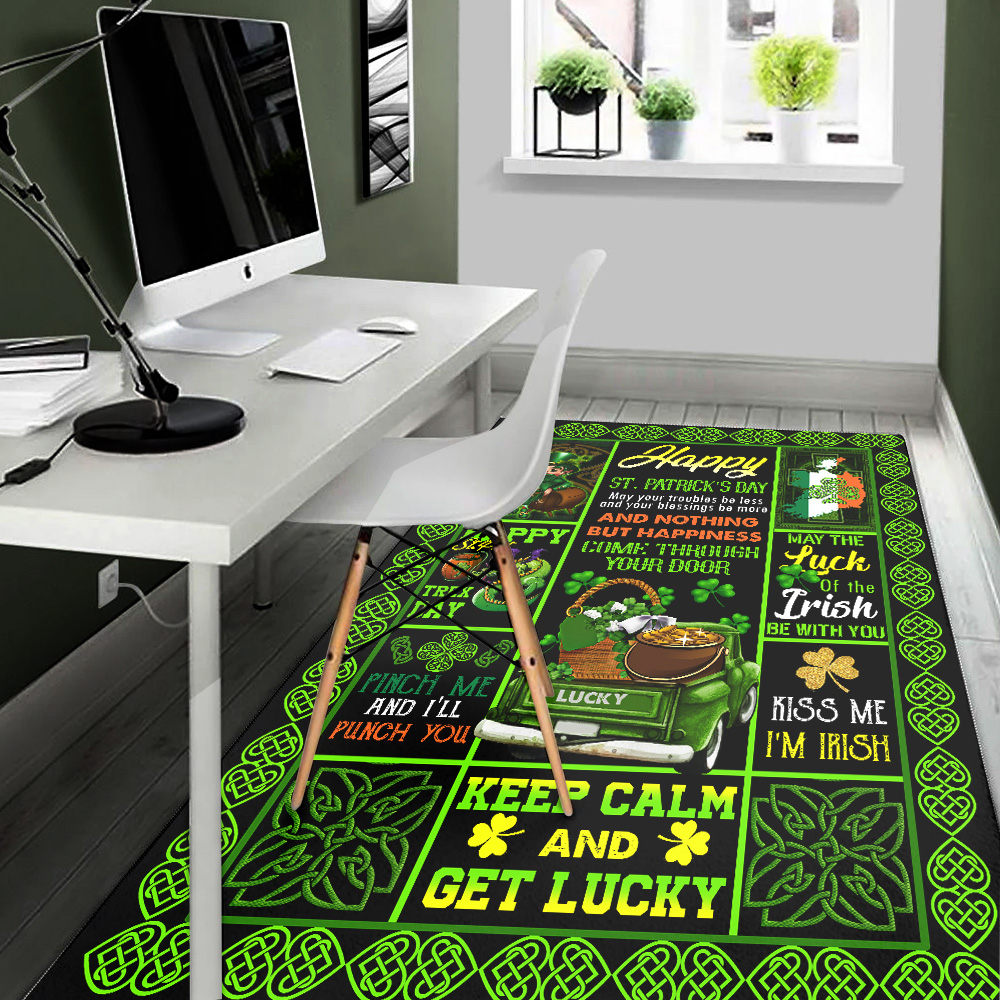 Personalized Lovely Rectangle Rug St Patrick's Day Kiss Me I'm Irish Pattern 1 Vintage Area Rug Anti-Skid Floor Carpet For Living Room Dinning Room Bedroom Office