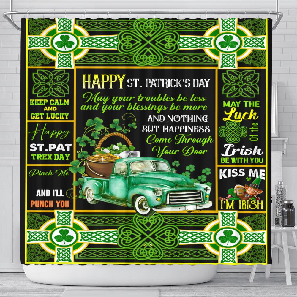 Personalized Lovely Shower Curtain St Patrick's Day Kiss Me I'm Irish Pattern 2 Set 12 Hooks Decorative Bath Modern Bathroom Accessories Machine Washable