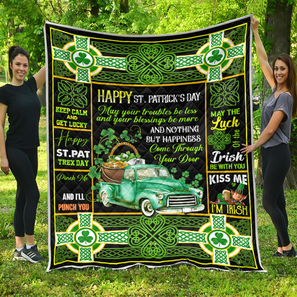 Personalized Lovely Quilt Throw Blanket St Patrick's Day Kiss Me I'm Irish Pattern 2 Lightweight Super Soft Cozy For Decorative Couch Sofa Bed