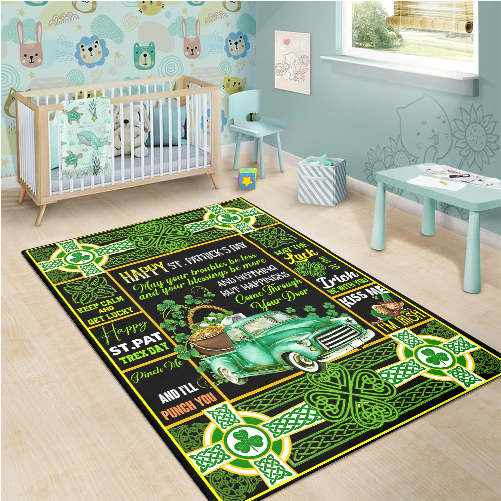 Personalized Lovely Rectangle Rug St Patrick's Day Kiss Me I'm Irish Pattern 2 Vintage Area Rug Anti-Skid Floor Carpet For Living Room Dinning Room Bedroom Office