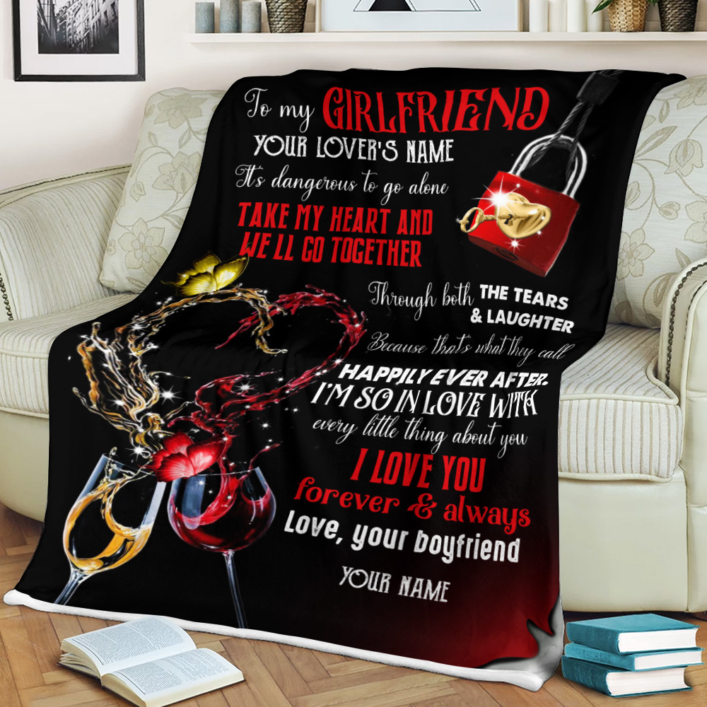 Personalized Lovely Fleece Throw Blanket To My Girlfriend Take My Heart And We'll Go Together Pattern 2 Lightweight Super Soft Cozy For Decorative Couch Sofa Bed