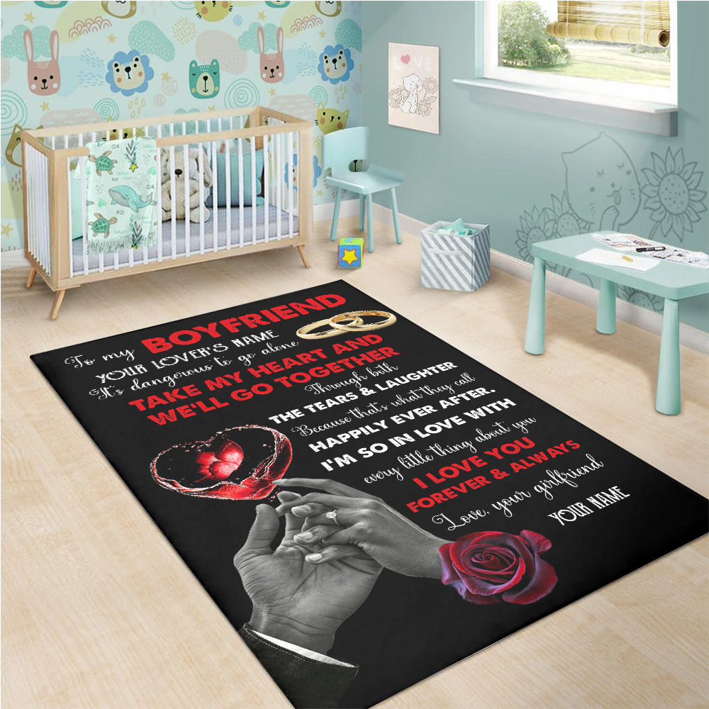 Personalized Lovely To My Boyfriend Take My Heart And We'll Go Together Pattern 1 Vintage Area Rug Anti-Skid Floor Carpet For Living Room Dinning Room Bedroom Office