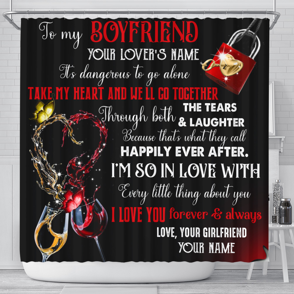 Personalized Lovely Shower Curtain To My Boyfriend Take My Heart And We'll Go Together Pattern 2 Set 12 Hooks Decorative Bath Modern Bathroom Accessories Machine Washable