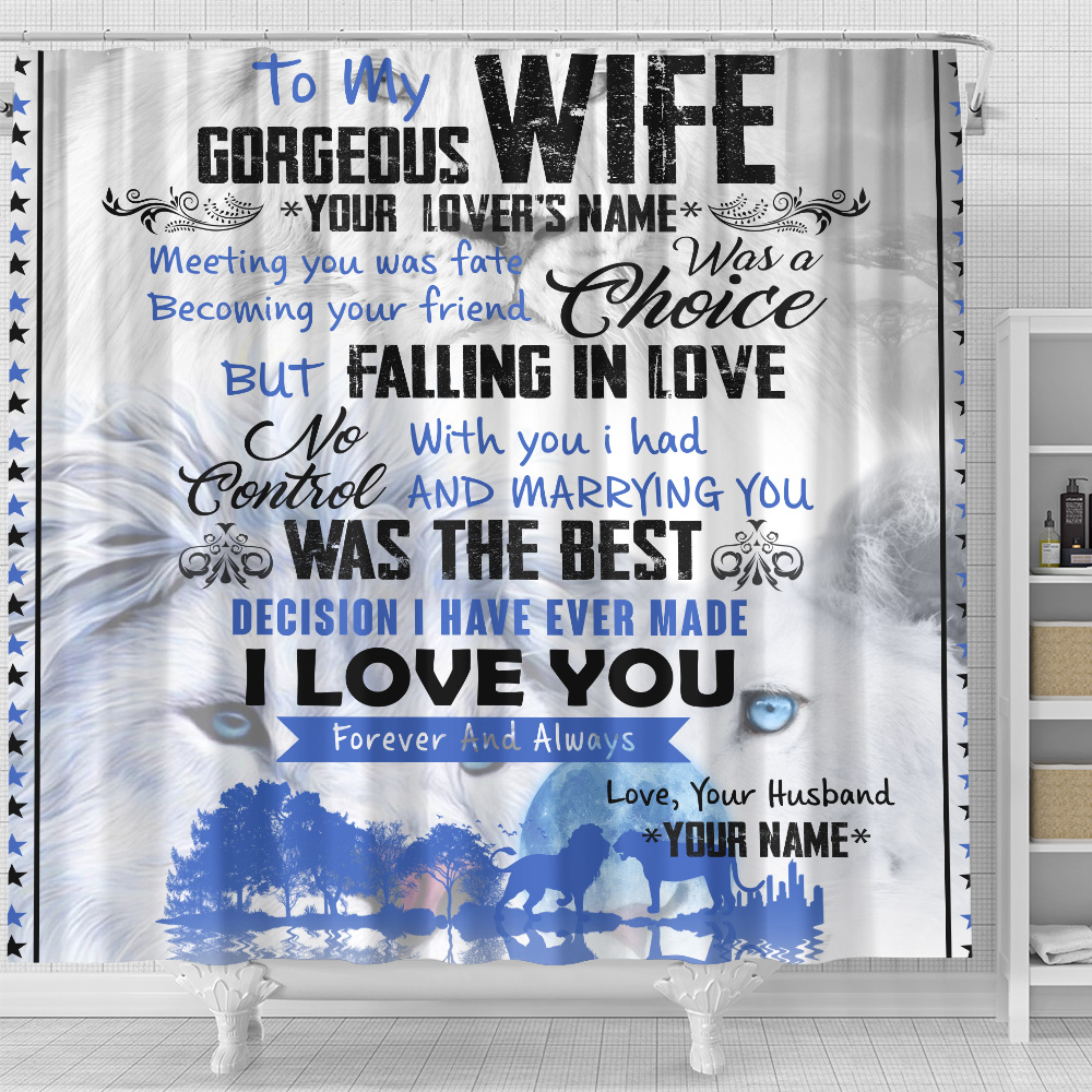 Personalized Shower Curtain 71 X 71 Inch To My Gorgeous Wife I Love You Forever& Always Set 12 Hooks Decorative Bath Modern Bathroom Accessories Machine Washable