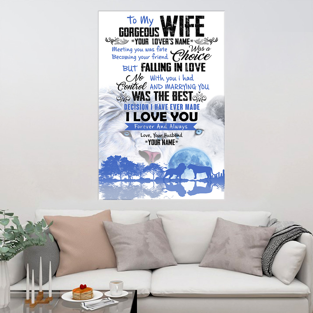 Personalized Wall Art Poster Canvas 1 Panel To My Gorgeous Wife I Love You Forever& Always Great Idea For Living Home Decorations Birthday Christmas Aniversary