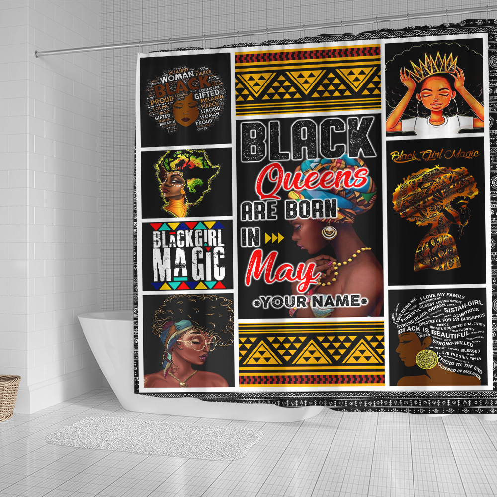 Personalized Shower Curtain Black Queens Are Born In May Pattern 1 Set 12 Hooks Decorative Bath Modern Bathroom Accessories Machine Washable