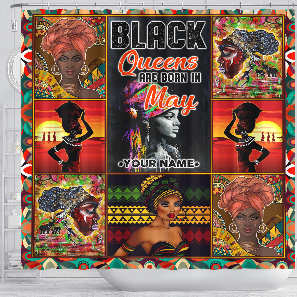 Personalized Shower Curtain Black Queens Are Born In May Pattern 2 Set 12 Hooks Decorative Bath Modern Bathroom Accessories Machine Washable