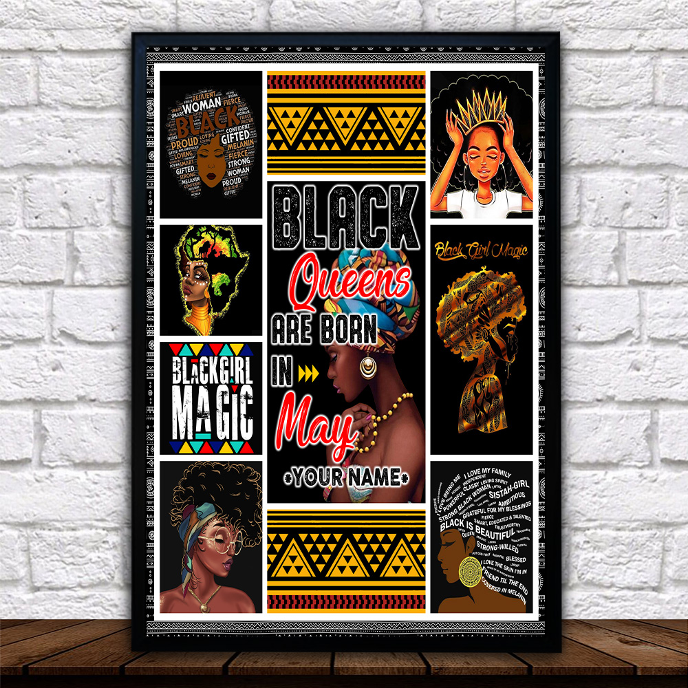 Personalized Wall Art Poster Black Queens Are Born In May Pattern 1 Prints Decoracion Wall Art Picture Living Room Wall