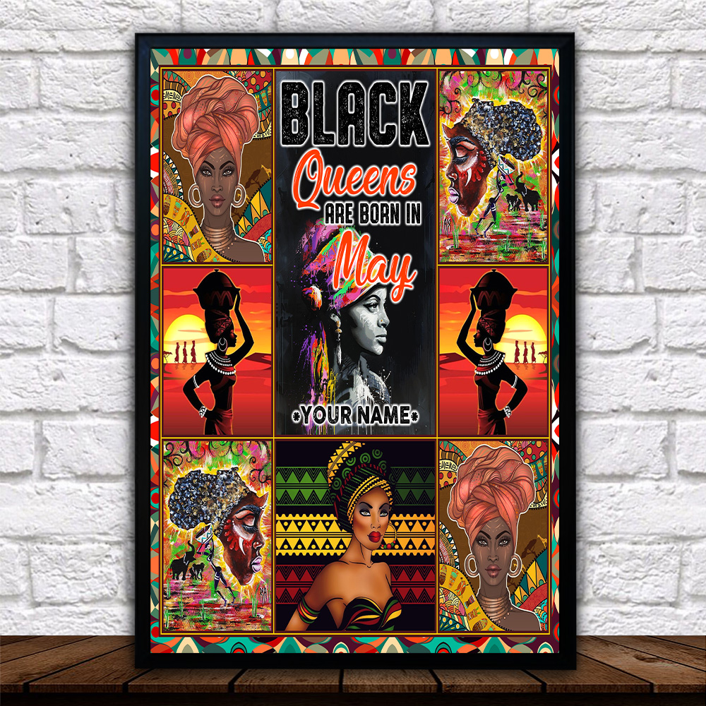 Personalized Wall Art Poster Black Queens Are Born In May Pattern 2 Prints Decoracion Wall Art Picture Living Room Wall