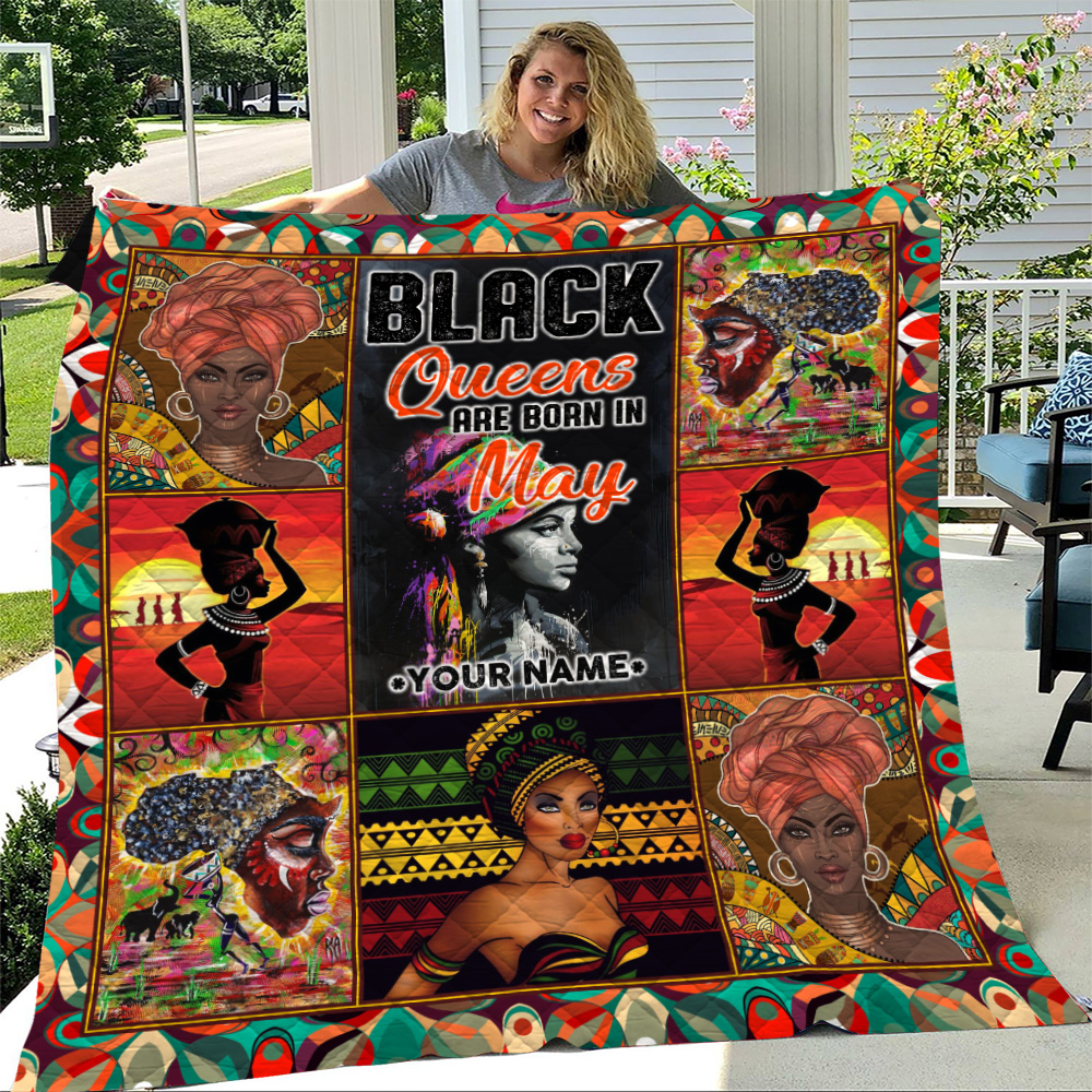 Personalized Quilt Throw Blanket Black Queens Are Born In May Pattern 2 Lightweight Super Soft Cozy For Decorative Couch Sofa Bed