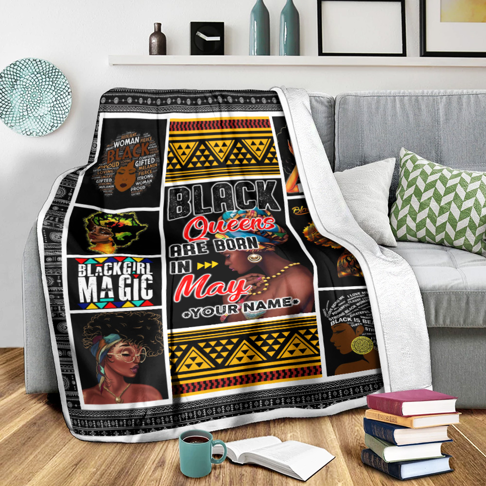 Personalized Fleece Throw Blanket Black Queens Are Born In May Pattern 1 Lightweight Super Soft Cozy For Decorative Couch Sofa Bed
