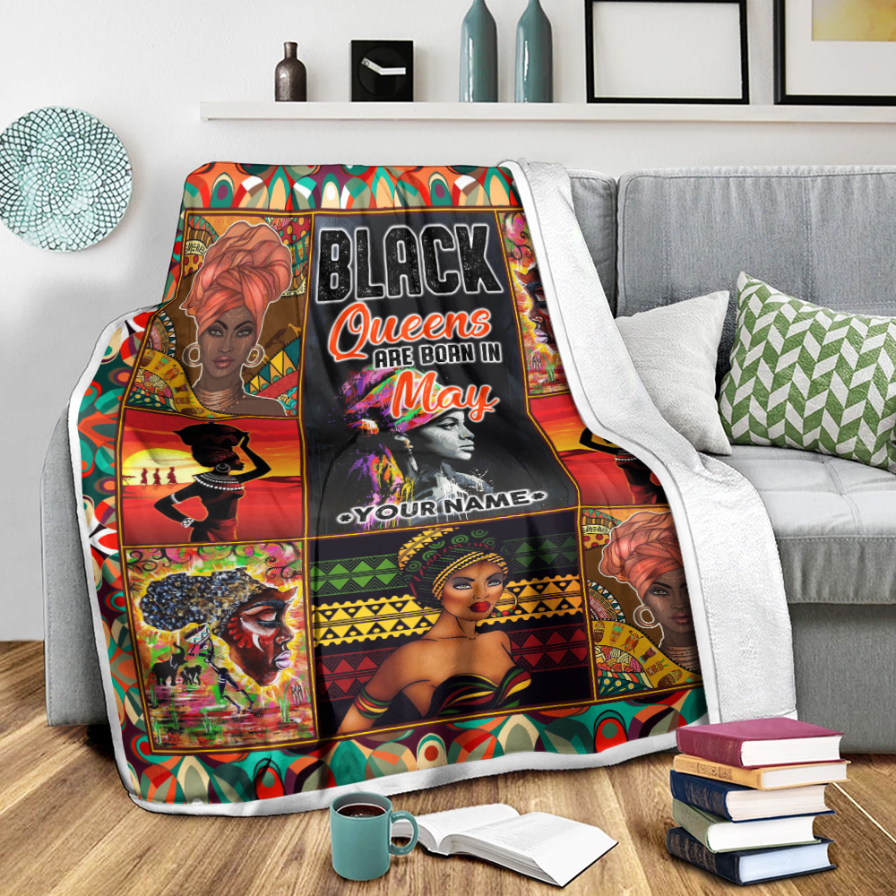 Personalized Fleece Throw Blanket Black Queens Are Born In May Pattern 2 Lightweight Super Soft Cozy For Decorative Couch Sofa Bed