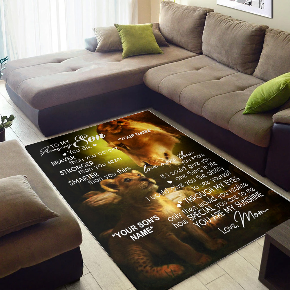 Personalized Floor Area Rugs To My Amazing Son You Are My Sunshine Indoor Home Decor Carpets Suitable For Children Living Room Bedroom Birthday Christmas Aniversary
