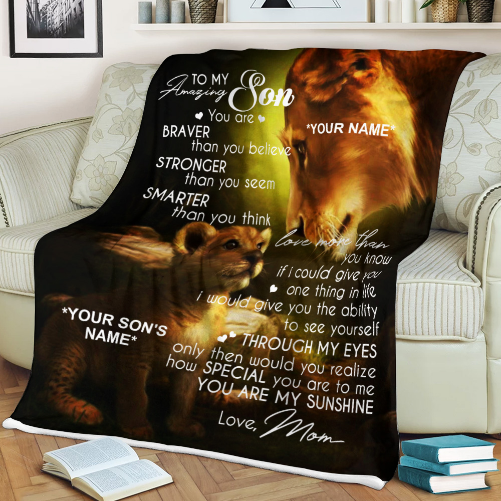 Personalized Fleece Throw Blanket To My Amazing Son You Are My Sunshine Lightweight Super Soft Cozy For Decorative Couch Sofa Bed