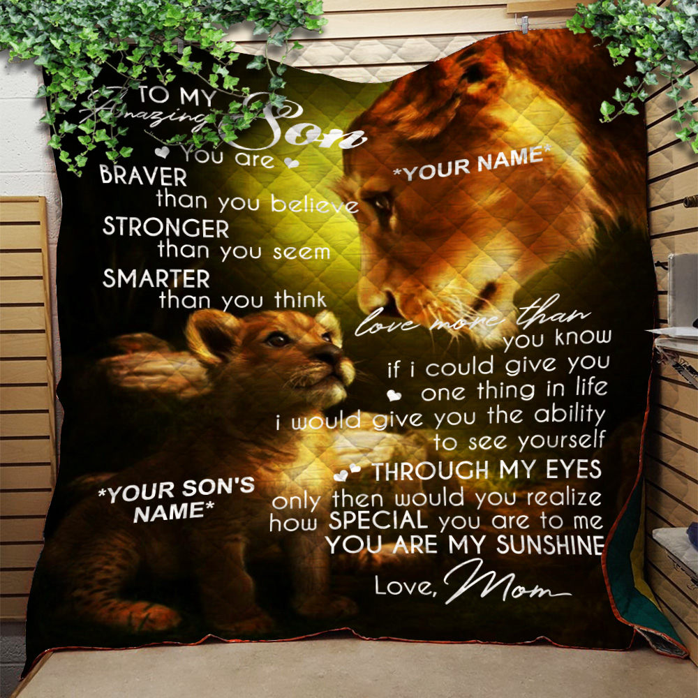 Personalized Quilt Throw Blanket To My Amazing Son You Are My Sunshine Lightweight Super Soft Cozy For Decorative Couch Sofa Bed