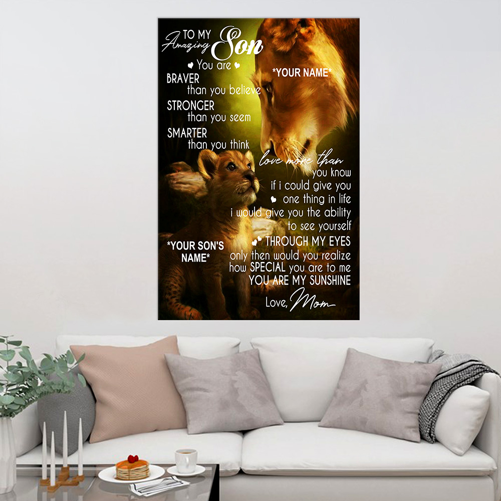 Personalized Wall Art Poster Canvas 1 Panel To My Amazing Son You Are My Sunshine Great Idea For Living Home Decorations Birthday Christmas Aniversary