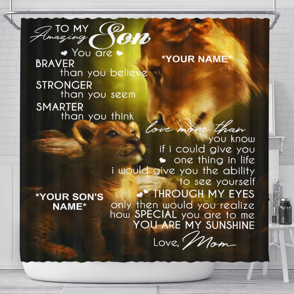 Personalized Shower Curtain 71 X 71 Inch To My Amazing Son You Are My Sunshine Set 12 Hooks Decorative Bath Modern Bathroom Accessories Machine Washable