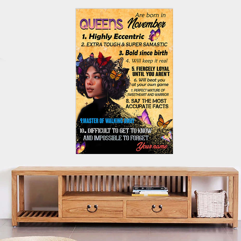 Personalized Wall Art Poster Queens Are Born In November Pattern 1 Prints Decoracion Wall Art Picture Living Room Wall
