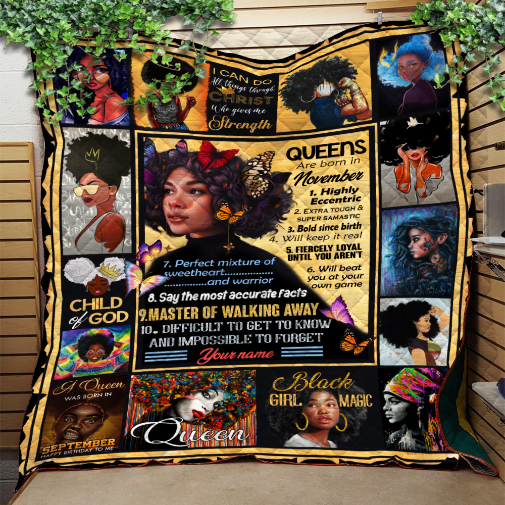 Personalized Quilt Throw Blanket Queens Are Born In November Pattern 1 Lightweight Super Soft Cozy For Decorative Couch Sofa Bed