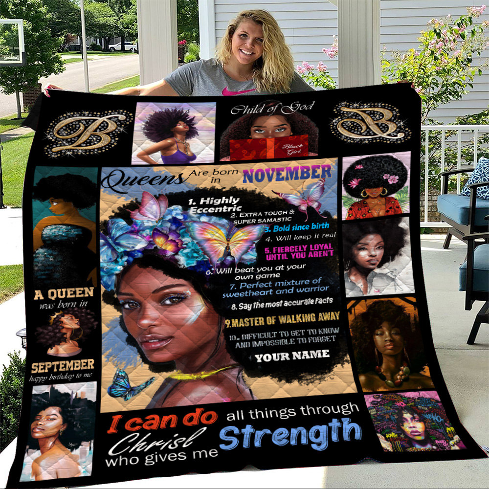 Personalized Quilt Throw Blanket Queens Are Born In November Pattern 2 Lightweight Super Soft Cozy For Decorative Couch Sofa Bed