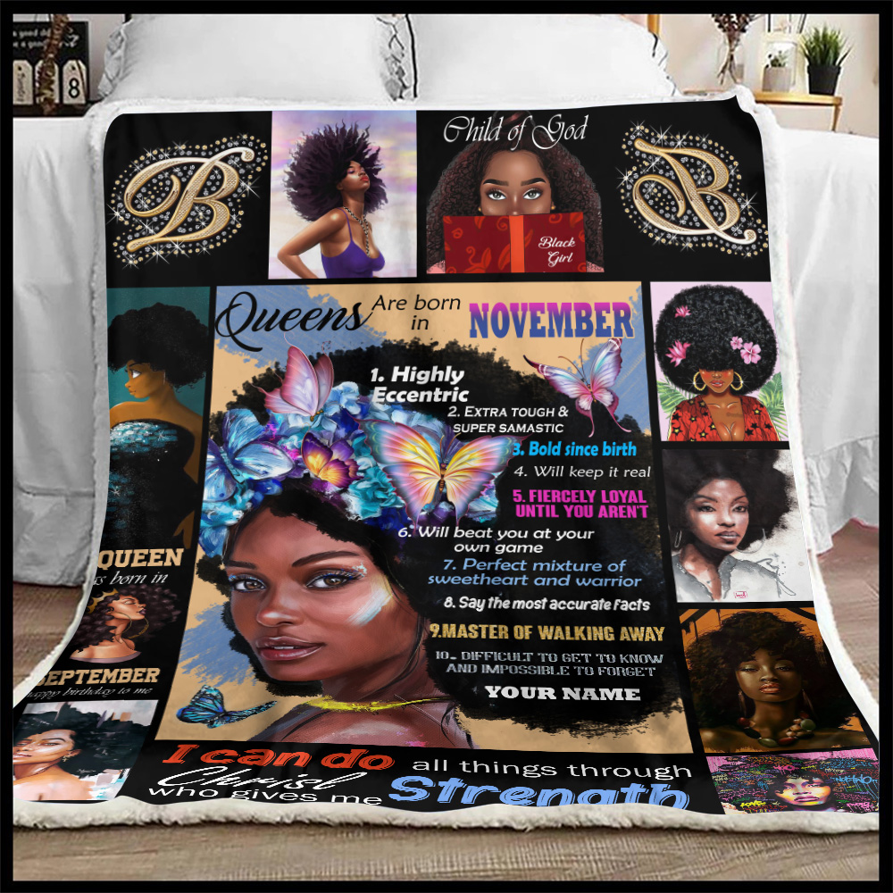 Personalized Fleece Throw Blanket Queens Are Born In November Pattern 2 Lightweight Super Soft Cozy For Decorative Couch Sofa Bed