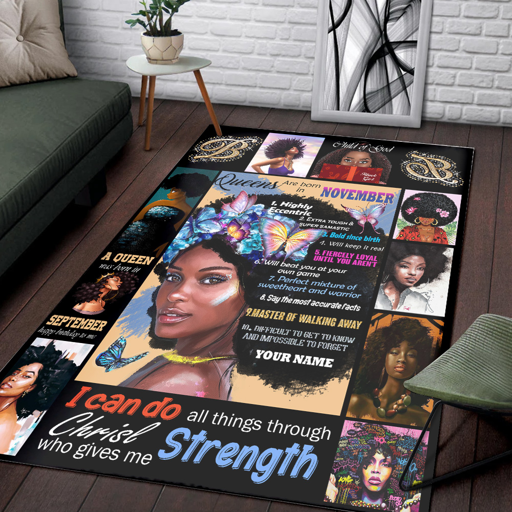 Personalized Queens Are Born In November Pattern 2 Vintage Area Rug Anti-Skid Floor Carpet For Living Room Dinning Room Bedroom Office