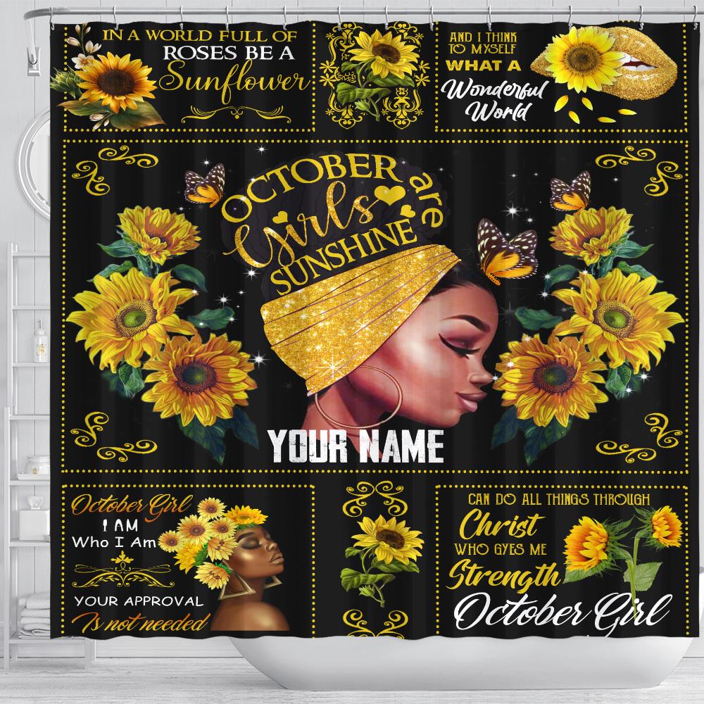 Personalized Shower Curtain October Girls Are Sunshine Pattern 1 Set 12 Hooks Decorative Bath Modern Bathroom Accessories Machine Washable