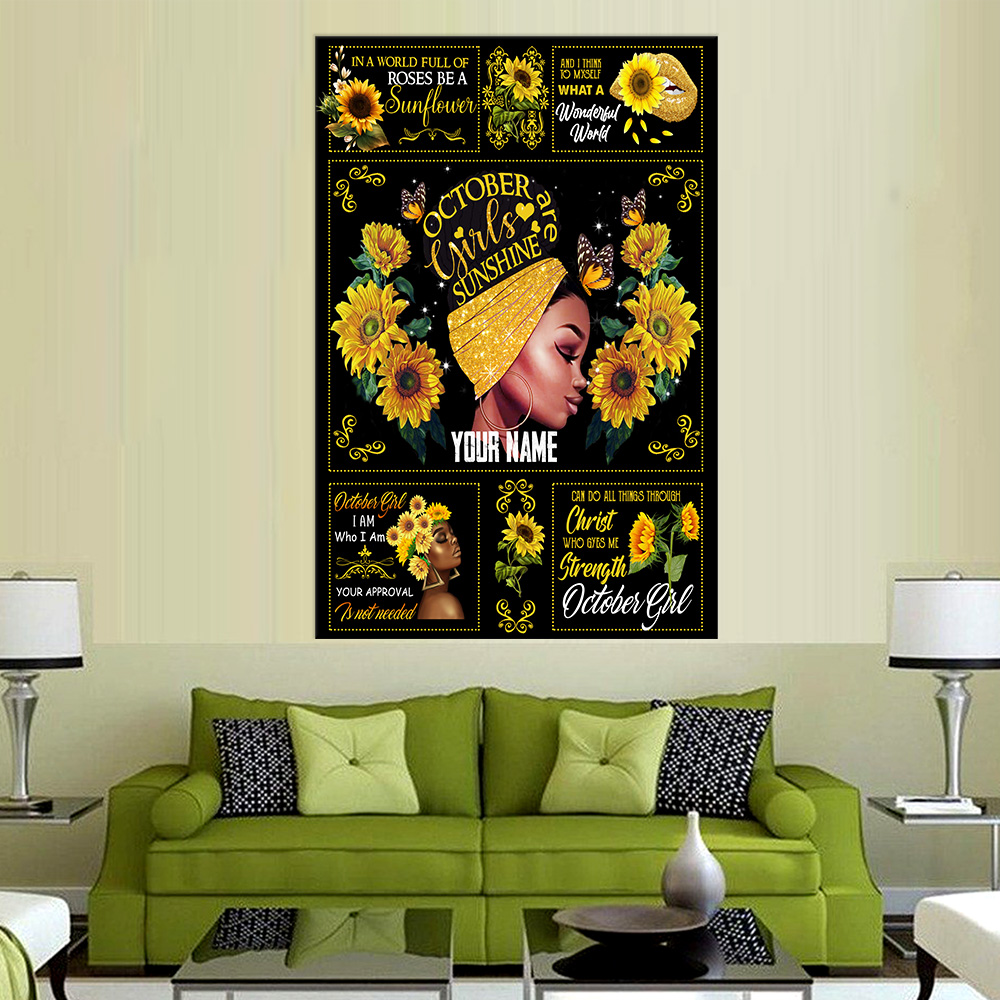 Personalized Wall Art Poster October Girls Are Sunshine Pattern 1 Prints Decoracion Wall Art Picture Living Room Wall