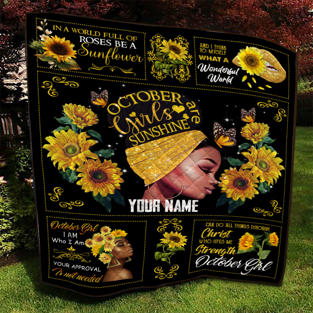 Personalized Quilt Throw Blanket October Girls Are Sunshine Pattern 1 Lightweight Super Soft Cozy For Decorative Couch Sofa Bed