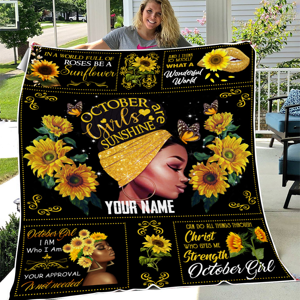 Personalized Fleece Throw Blanket October Girls Are Sunshine Pattern 1 Lightweight Super Soft Cozy For Decorative Couch Sofa Bed