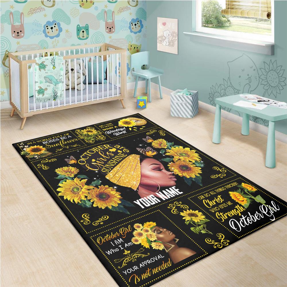 Personalized October Girls Are Sunshine Pattern 1 Vintage Area Rug Anti-Skid Floor Carpet For Living Room Dinning Room Bedroom Office