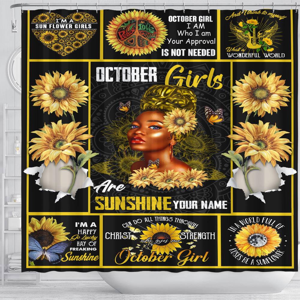 Personalized Shower Curtain October Girls Are Sunshine Pattern 2 Set 12 Hooks Decorative Bath Modern Bathroom Accessories Machine Washable